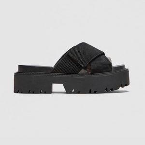 Zara Track Sole Chunky Velcro Sandal Slider